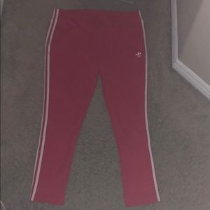 Red/White Adidas Track Pants